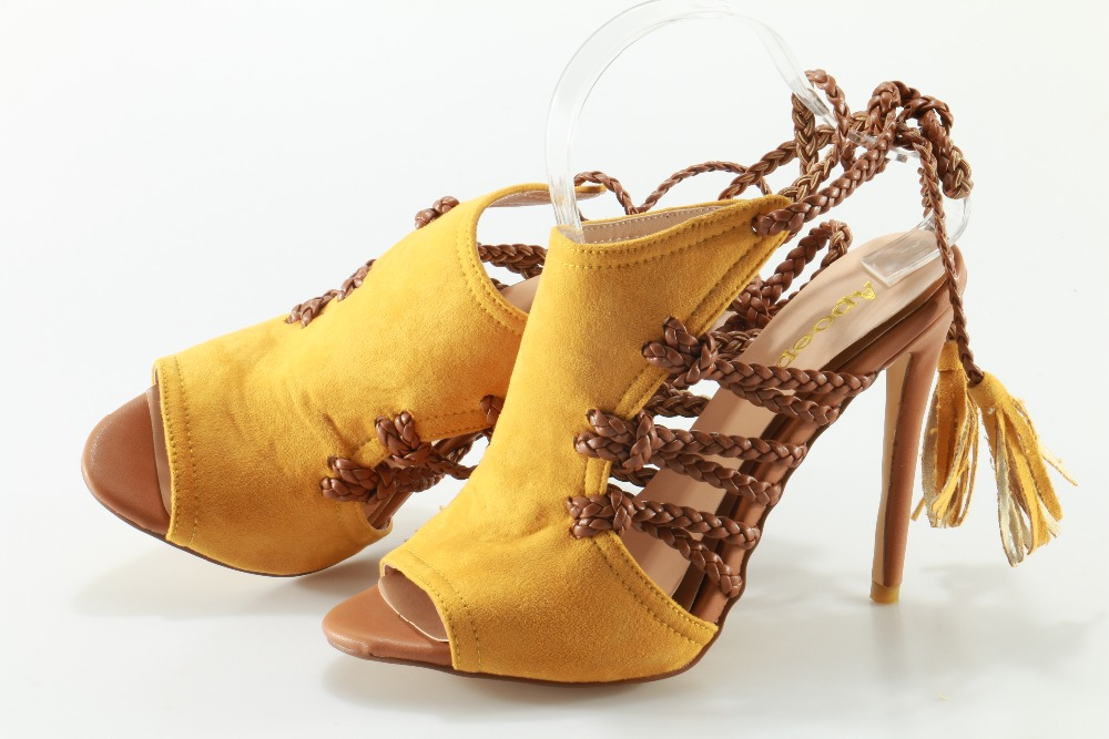 Hot Selling Summer Women Yellow lace up Sandals Open Toe Ankle Strap Fashion Thin and High Heels Shoes 2017 hot selling women solid color narrow band open toe hollow out sandals summer fashion back zipper high thin heel dress pumps