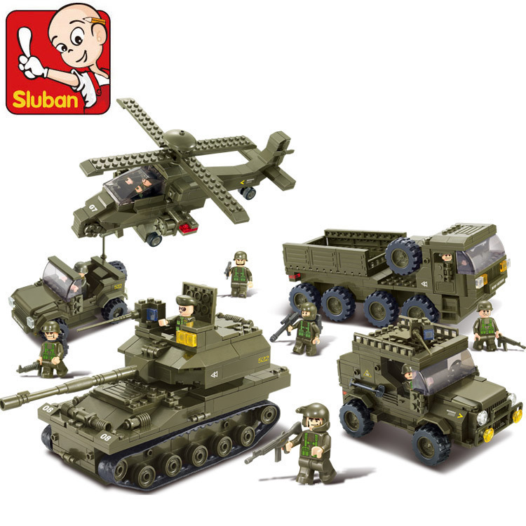 SLUBAN 0311 996Pcs Military Block Army Joint Attack Truck Building Blocks Construction Bricks DIY Toys Hobbies For Children 8 in 1 military ship building blocks toys for boys