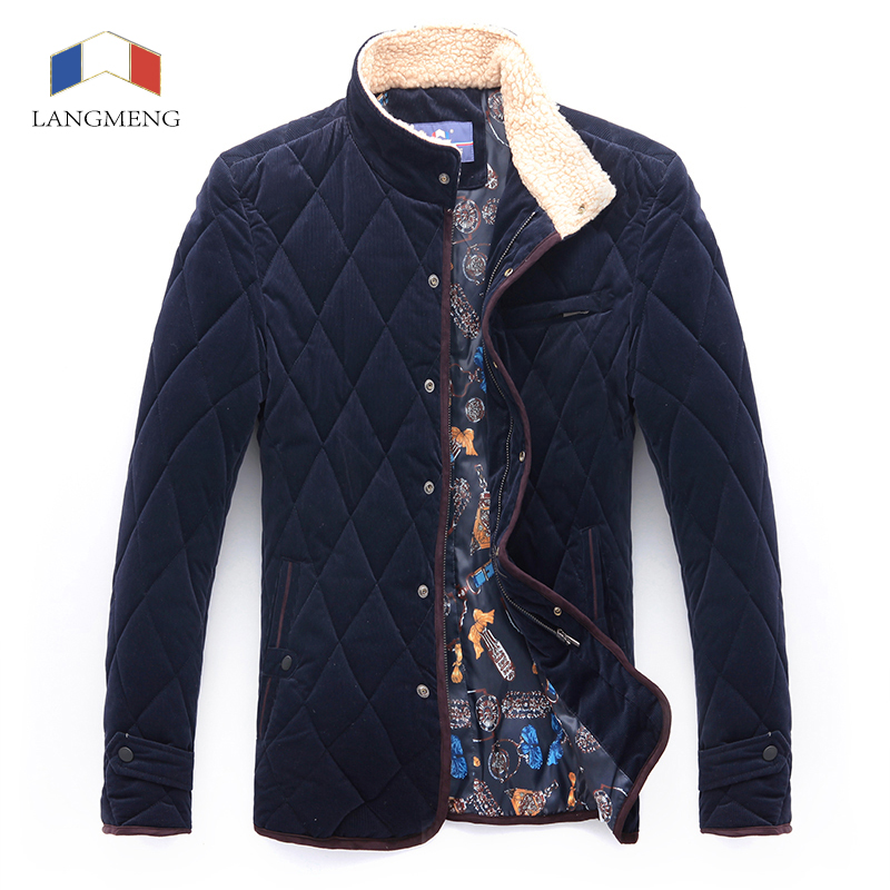 Langmeng 2015 new corduroy winter outerwear corduroy clothes casual suits fashion men coat brand quality formal