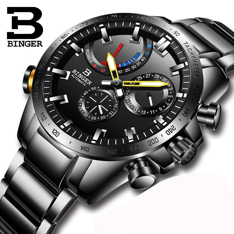 Saatler'ten Mekanik Saatler'de Lüks Marka İzle Erkekler İsviçre BINGER Erkekler Saatler Otomatik Mekanik Erkekler Izle Safir Su Geçirmez Enerji ekran S10003 2'da  Grup 1