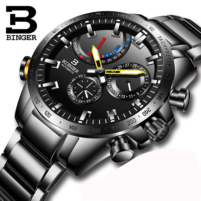 럭셔리 브랜드 시계 남자 스위스 binger 남자 시계 자동 기계 남자 시계 사파이어 방수 에너지 디스플레이 S10003 2-에서기계식 시계부터 시계 의  그룹 1