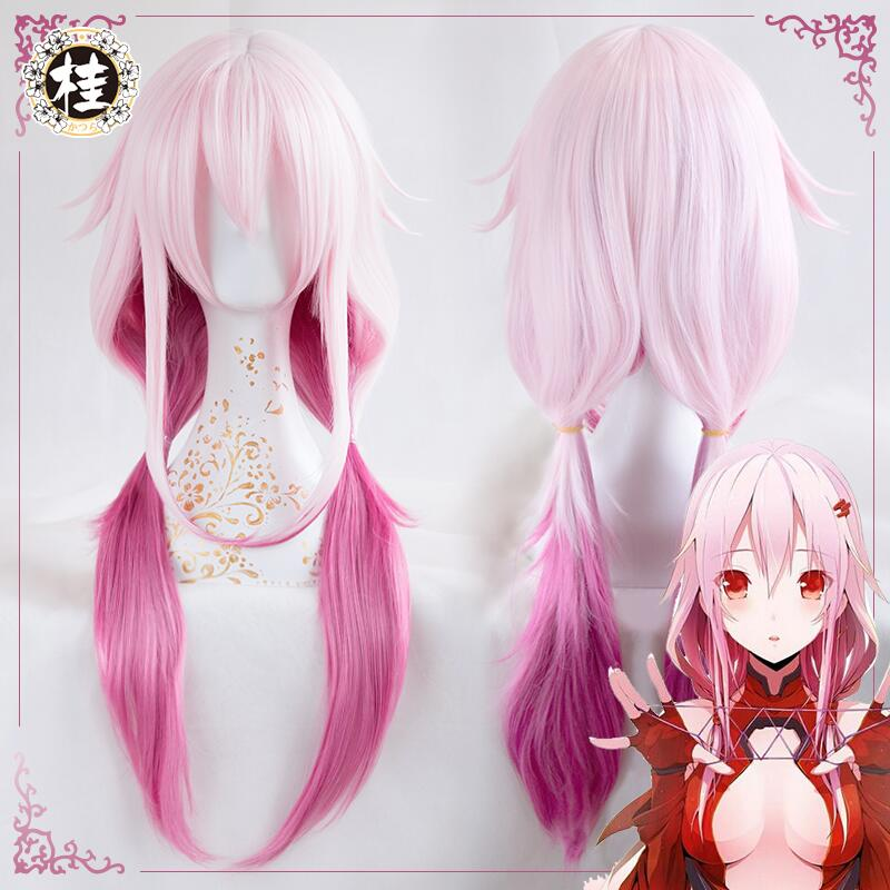 Anime Guilty Crown Cosplay Wig Inori Yuzuriha Gradient Pink Long Pigtails Synthetic Hair Adult