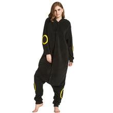 Cartoon Onesie Pokemon Cosplay Kigurumi Umbreon Pajamas Girl Women Adult Black Sleepwear Party Jumpsuit Winter Sleep Overalls
