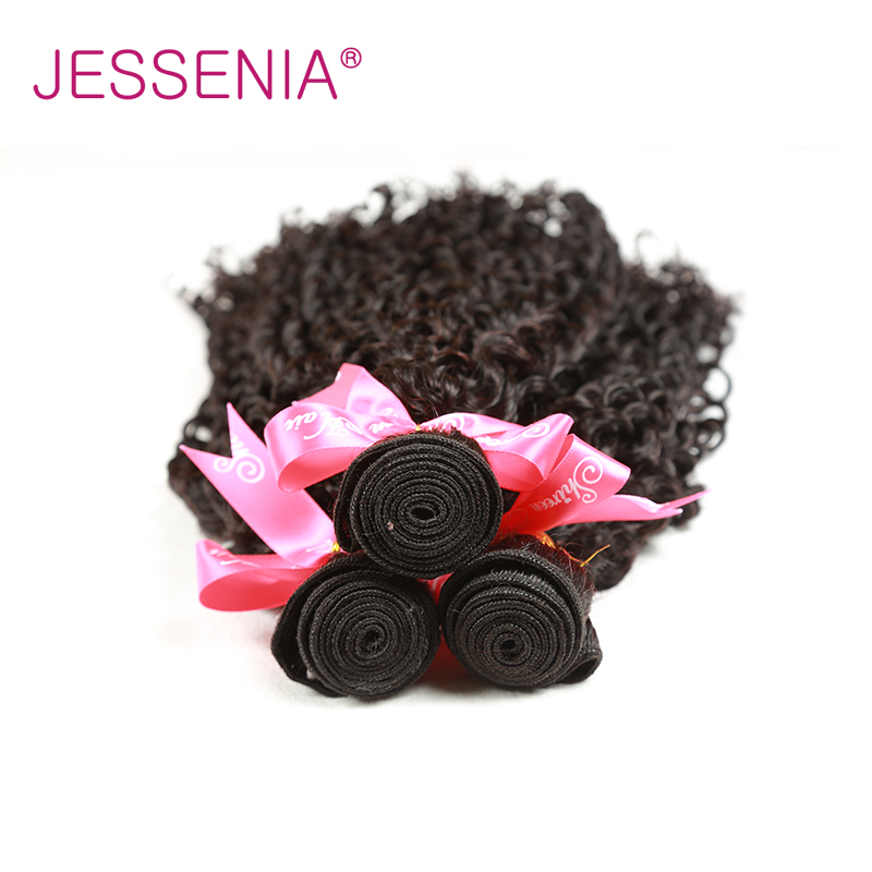 JESSENIA HAIR 3Pcs/Lot Indian Curly Hair Weave 3 Bundles 100% Human Hair Bundles Natural Color Remy Hair Extentions