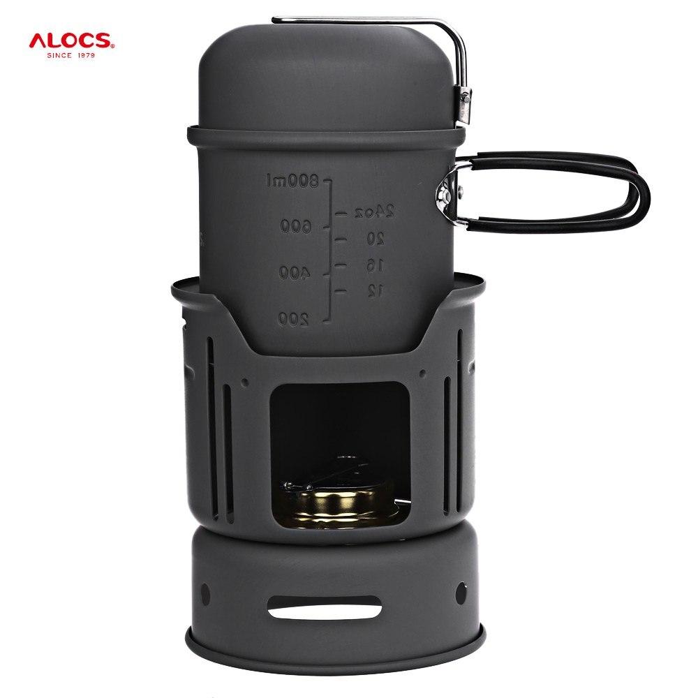 ALOCS CW-C01 Alliage D'aluminium Extérieur Vaisselle Portable 1-2 Personne 7 pièces Camping Cuisiner Ensemble pour la Randonnée En Plein Air Pique-Nique