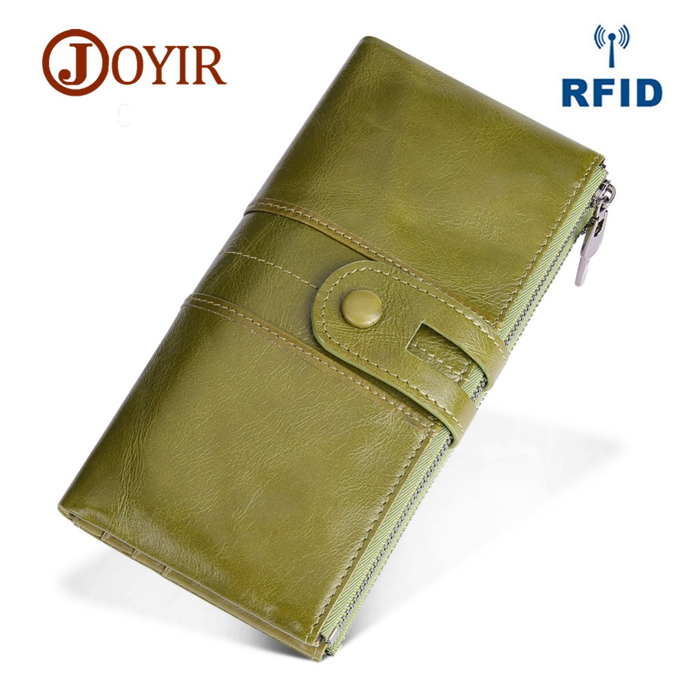 JOYIR New Genuine Leather Women Wallet Lady Rfid Phone Long Clutch Female Coin Purse Money Zipper