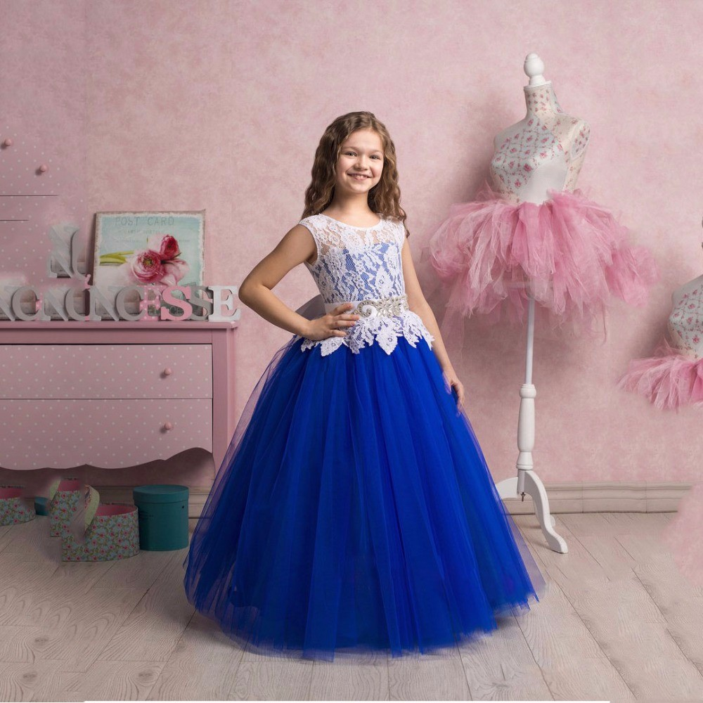 2017 Royal Blue Flower Girl Dress Tulle White Lace Appliques