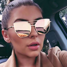 Trend Cat Eye Sunglasses Women Brand Designer Reflective Mirror Coating Sun Glasses Women Female Metal Frame Eyewear UV400 2019