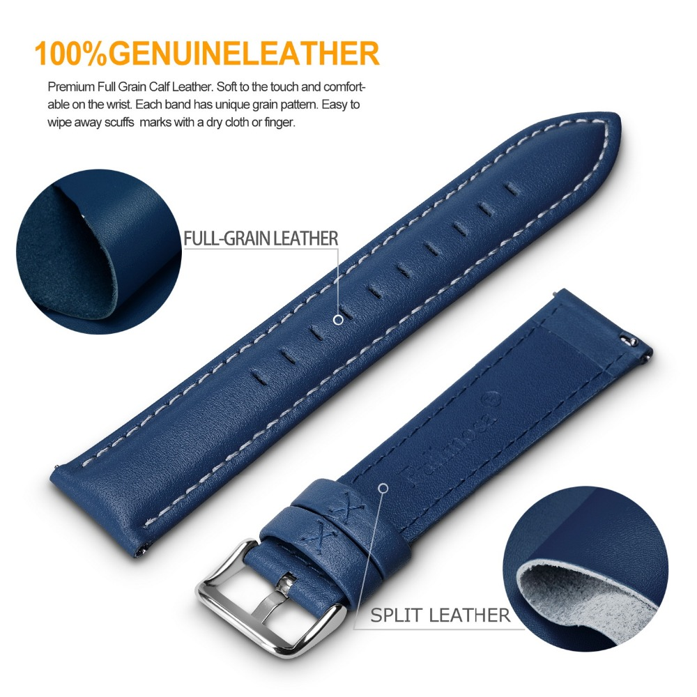 12 Colors for Quick Release Leather Watch Band, Axus Genuine Leather Watch Strap with Silver Or Gold Buckle 18mm,20mm,22mm,24mm