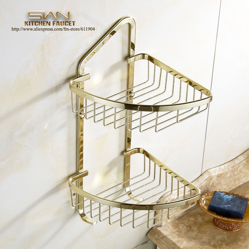 Luxury Gold Color Bathroom Wire Corner Basket Shelf Double Layer With Two Hooks 3971921