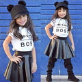 2Pcs Kids Baby Girls Mini Boss Letter White Short Sleeve Shirt Black leather Skirt Clothing Set Children Clothes Outfits 1-6T