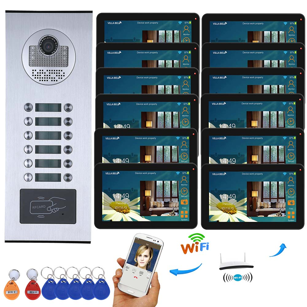 9 Inch Wired Wifi Apartments Video Door Phone Intercom System RFID IR-CUT HD 1000TVL Camera With 8/9/10/11/12 Apartment/Family