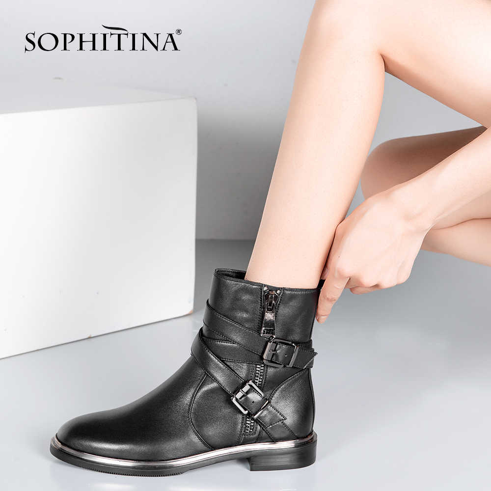 SOPHITINA High Quality Woman Chelsea Boots Handmade Genuine Leather Round Toe Shoe Fashion Buckle Square Low Heel Lady Boots M21