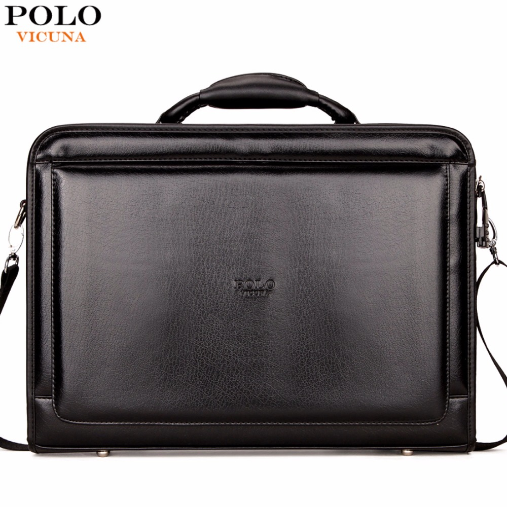 VICUNA POLO Brand Business Office Men Bag Large Capacity Black Mens Briefcase Bag With Calculator Code-Lock Open Men Bag maletin