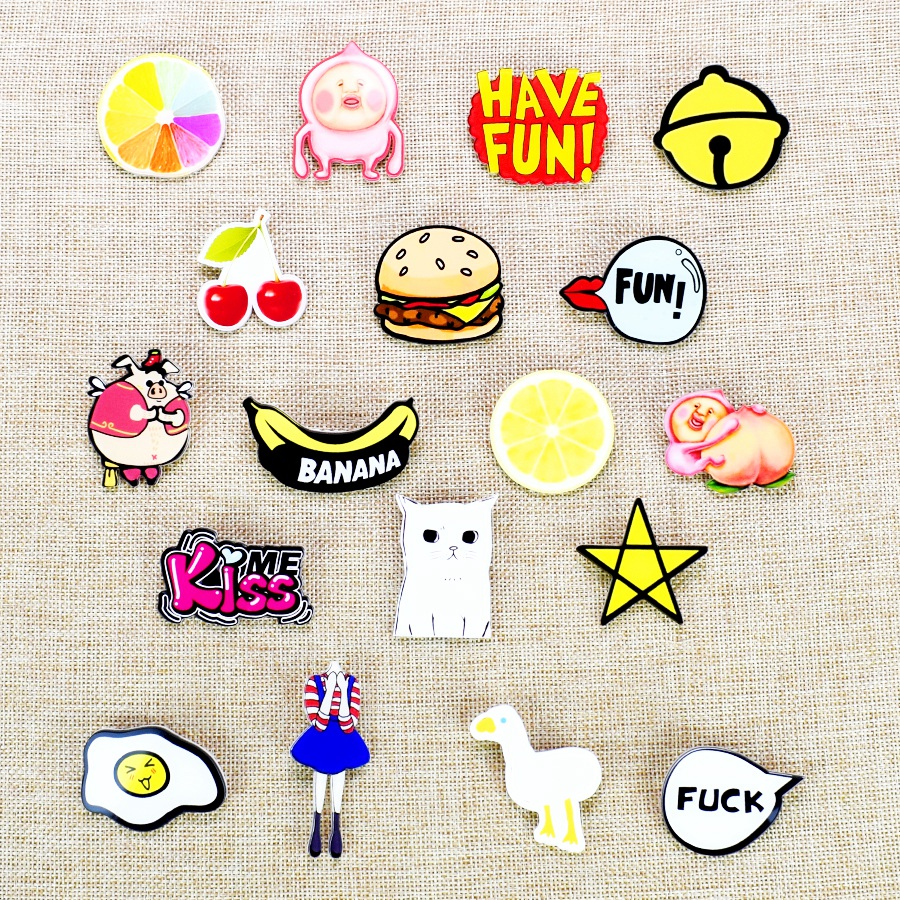 Hot anime pins for clothes kawaii icon acrylic badges fashion clothes badge backpack pin button food fruit acrylic brooch un  birthday cake