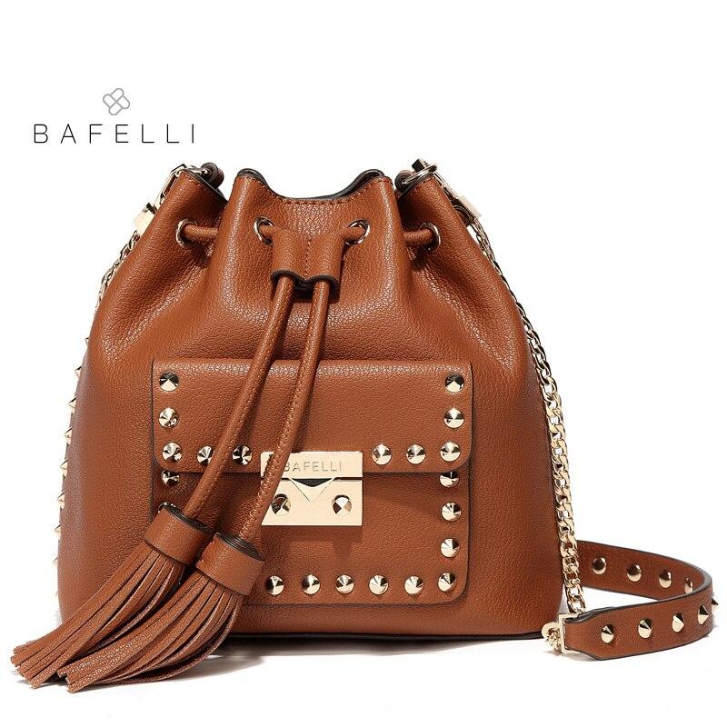 BAFELLI crossbody bags for women split leather tassel rivet bucket high quality shoulder bag 5 colors red bolsos mujer women bag цена 2017