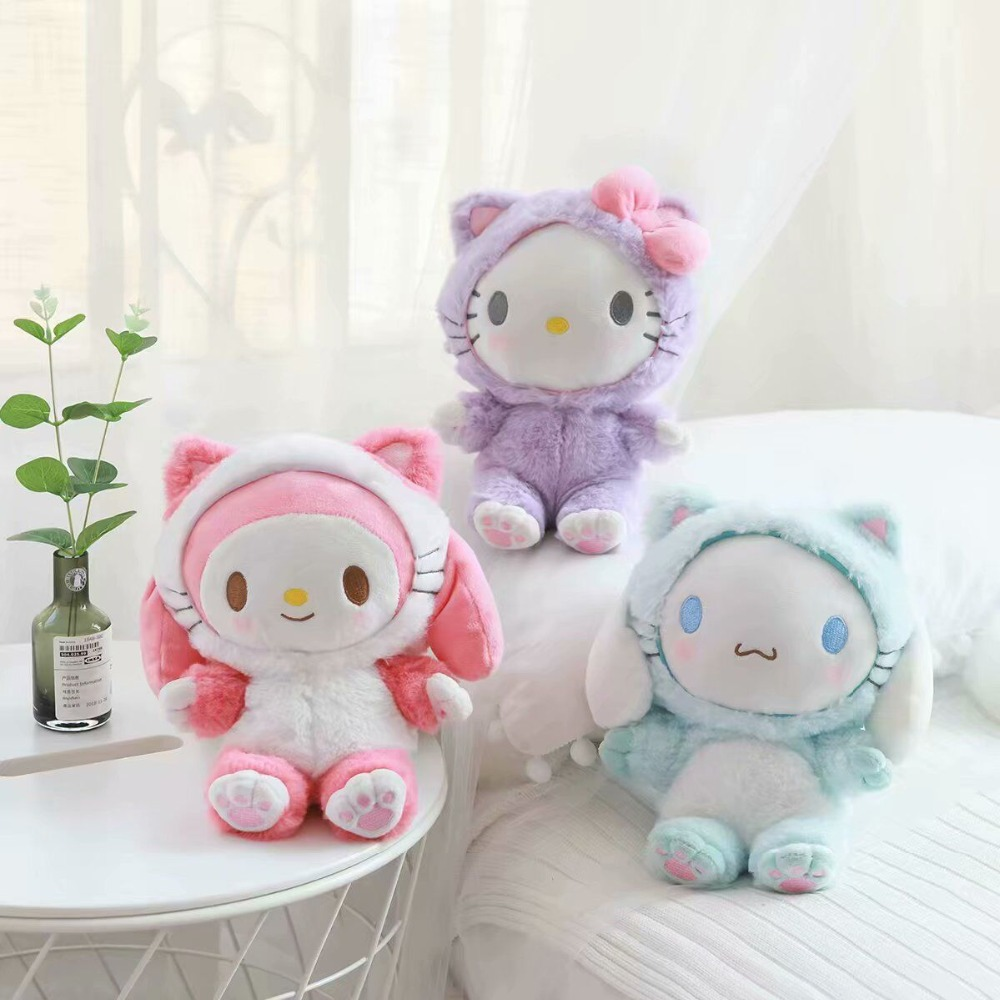 Cute Cartoon Plush Toy Melody Cinnamoroll Cos Cat Soft Stuffed Doll Crossbody Bag Girl Birthday Christmas Gift #1079