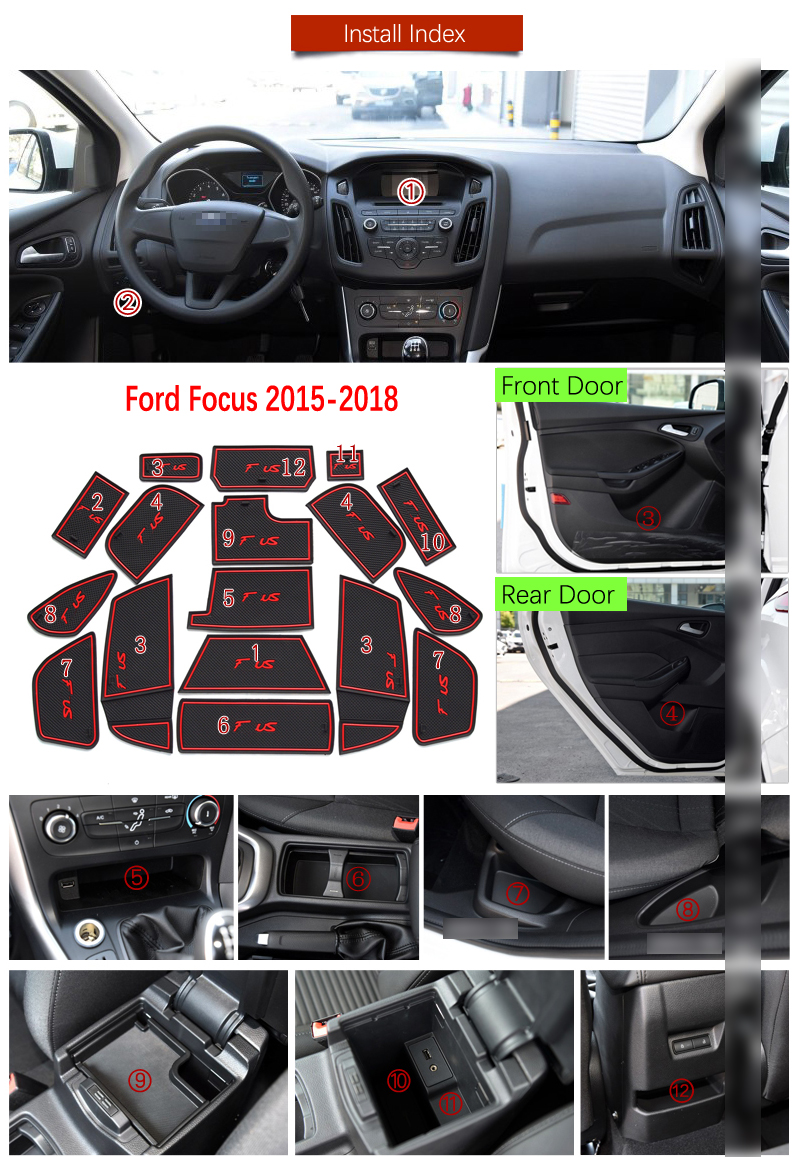 Rubber Gate Slot Pad Non-slip Inner Cup Mats-White Fit Ford Focus RS 2015-2018