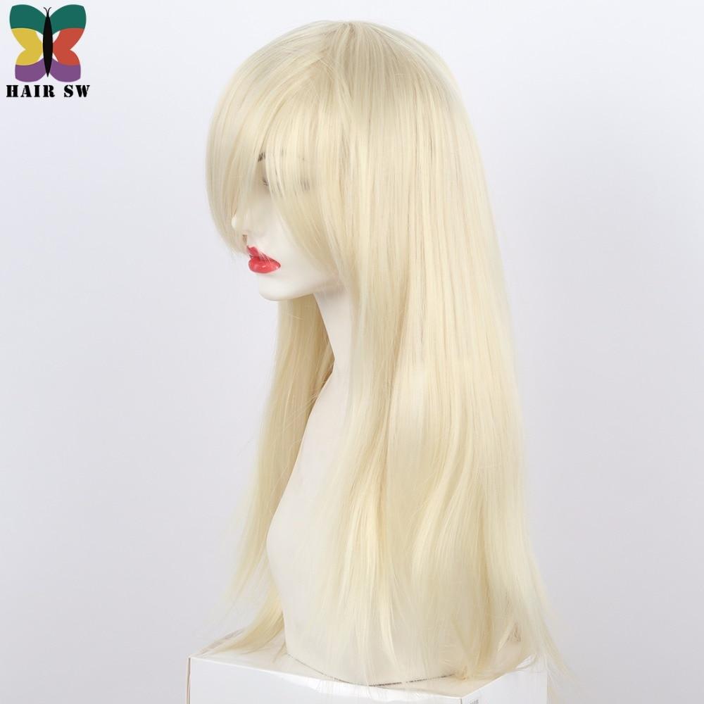 HAIR SW Long Straight Syntetisk Paryk Blond Sidodel Med Lång Bangs - Syntetiskt hår - Foto 2
