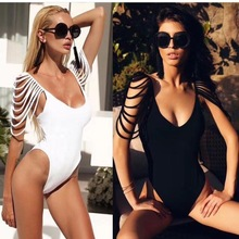 swtao Women Summer Sexy Black White Bandage One Piece Designer Bodycon Bodysuit