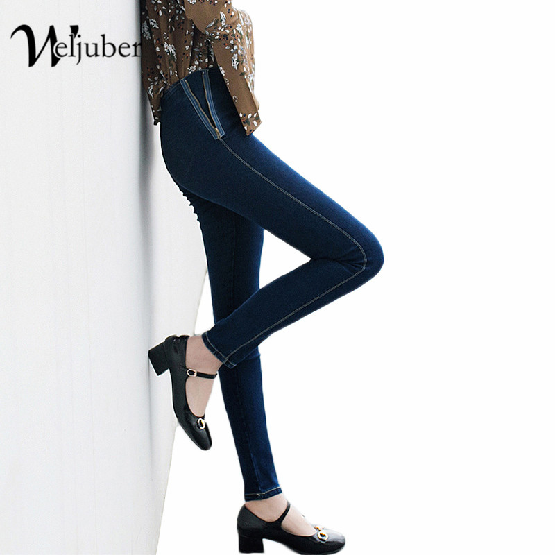 Weljuber New High Waist Slim Jeans Women Hot Sale Fashion Style Washed Denim Blue Pencil Pants High Elastic Trousers 5xl plus size jeans 2017 new high waist jeans fashion elastic women washed pants casual pencil denim slim trousers wiccon