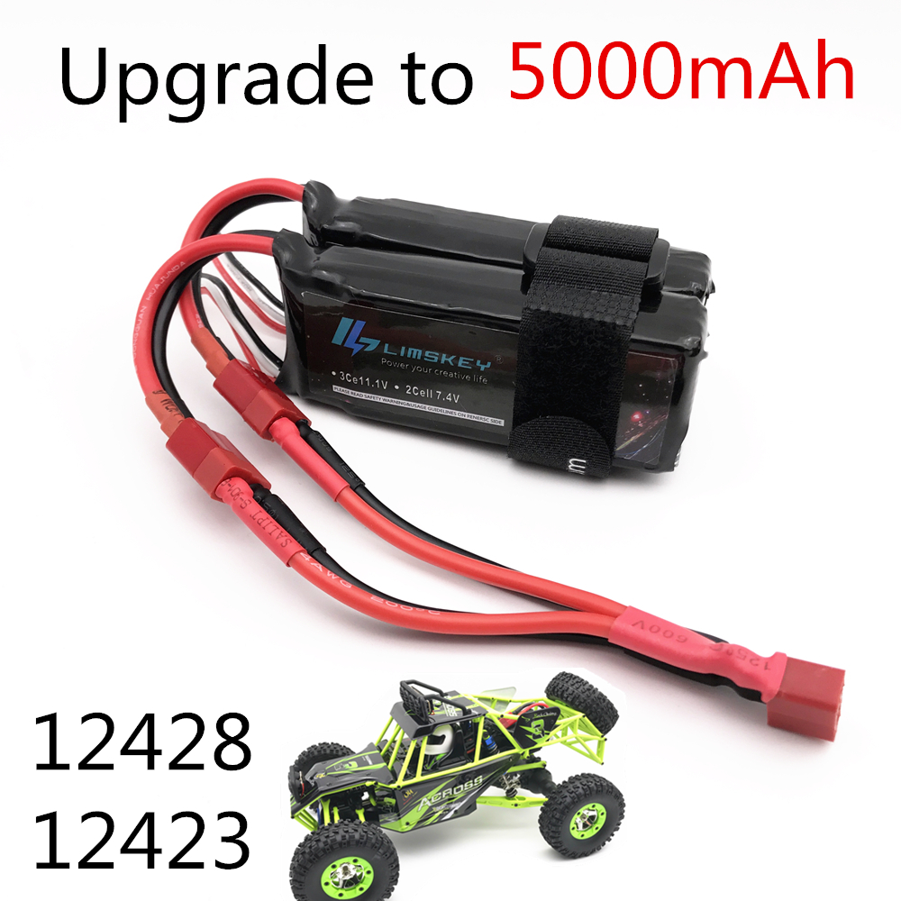 Limskey Power Upgrade To 7.4V 5000MAH (2pcs*2500mah 7.4V ) 40C 2S Lipo Battery T Plug For Wltoys 12428 12423 RC Car Parts