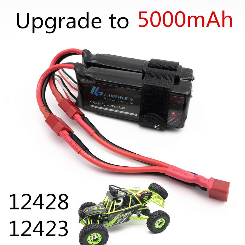 Limskey Power Upgrade To 7.4V 5000MAH (2pcs*2500mah 7.4V ) 40C 2S Lipo Battery T Plug For Wltoys 12428 12423 RC Car Parts