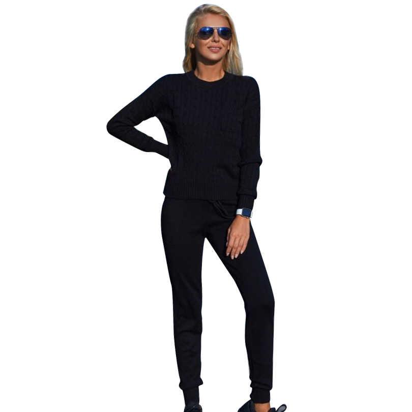 Женский вязаный костюм-двойка MVGIRLRU, костюм со свитером и брюками в повседневном стиле, спортивный костюм с кофтой и штанами, весна-осень