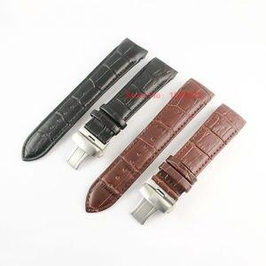 Image 2 - 23 мм (пряжка 20 мм) T035617A T035439, Высококачественная серебристая пряжка бабочка + коричневый черный ремешок из натуральной кожи с изогнутым концом