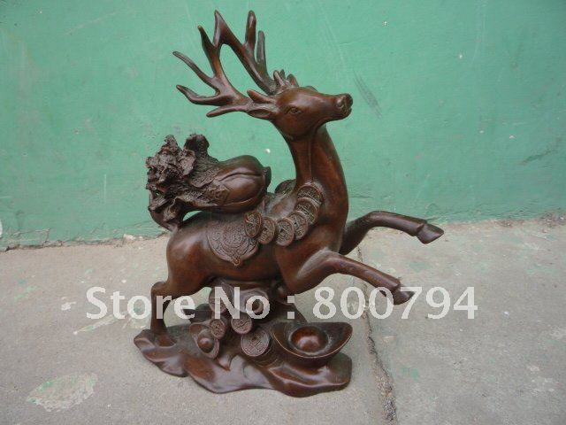 Rare Distinctive Qing Dynasty copper Statue Good fortunedeer ,Free shippingRare Distinctive Qing Dynasty copper Statue Good fortunedeer ,Free shipping