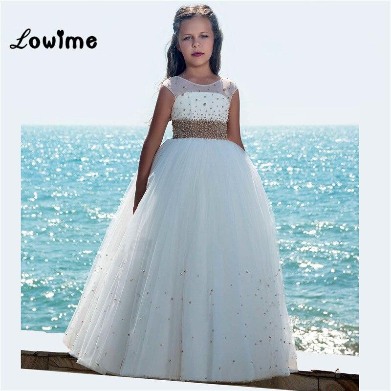 White Flower Girl Dresses 2018 New Comunion Vestido Daminha Custom Beaded Communion Dresses Pageant Dresses For Girls
