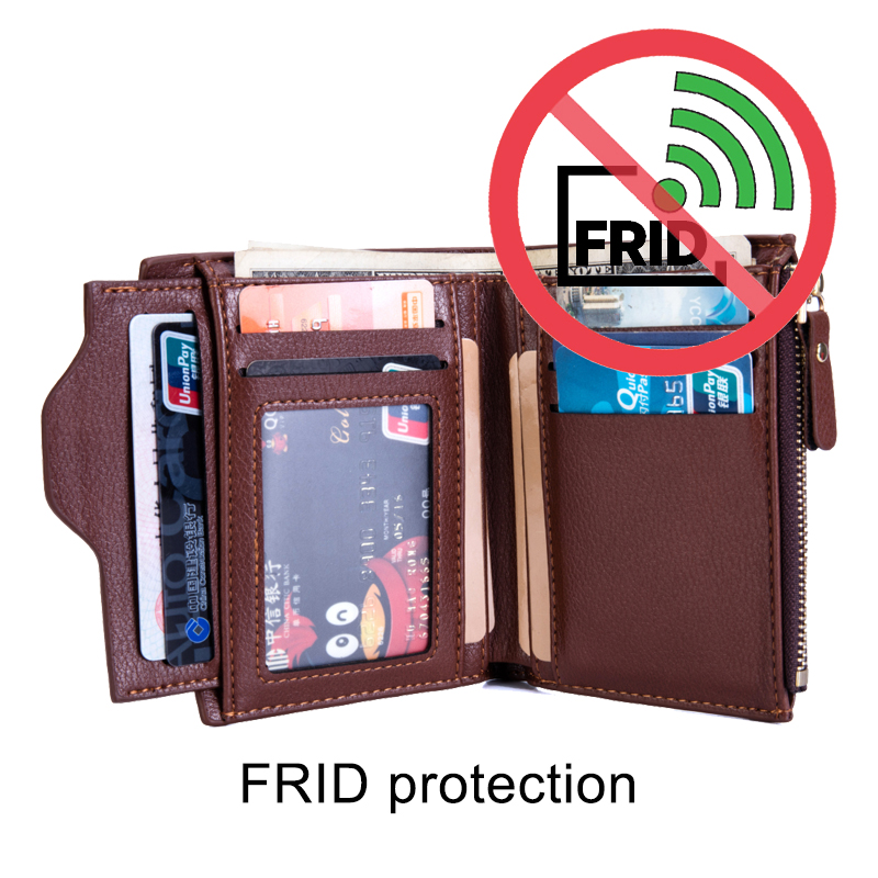 Men Wallet RFID Theft Protect Coin Bag zipper men Leather wallets famous brand mens wallet male money purses Wallets New Design недорго, оригинальная цена