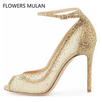 New Summer Stiletto High Heels Pumps Rhinestone Bling Wedding Shoes 2018 Chic Nude Sequin Mesh Pointed Toe Luxury Women S