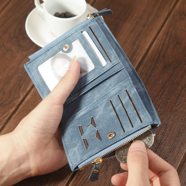 Nubuck Leather Card Holder with Coin Pocket