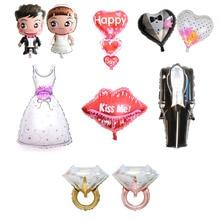10Pc Groom Bride Foil Balloon Wedding Dress Room Decoration Romantic Engagement Party