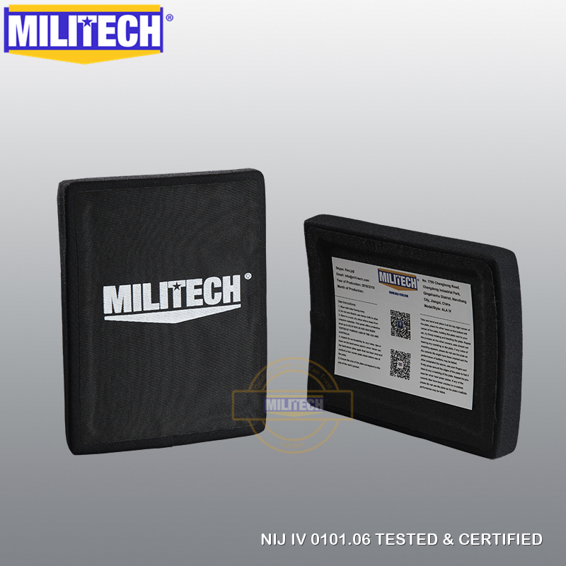 Free Shipping MILITECH 6 X 8 Inches Pair Alumina & PE NIJ Level IV Bulletproof Side Panels NIJ 4 Stand Alone Ballistic Plate