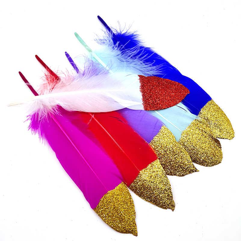10 개/몫 스프레이 골드 파우더 화이트 거 위 깃털 16-20 cm 공예 모자 embellishments 꽃꽂이 소재 액세서리