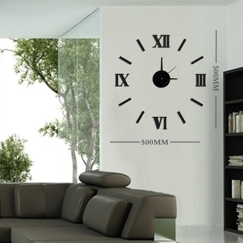 DIY Ժամանակակից նորաձևության ստեղծագործական պատի ժամացույց Կպցնել EVA Սև հռոմեական համարակալման դեկորատիվ ժամացույց 10ES033