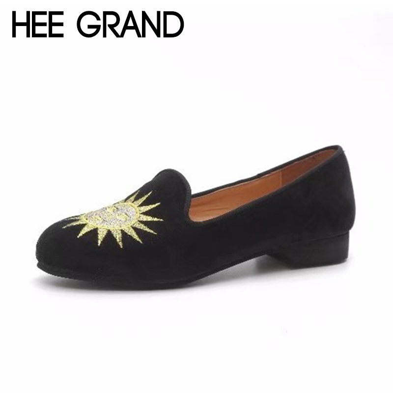 HEE GRAND Sun&Moon Decoration Women Spring Flats 2018 New Arrival Women Causal Fashion Slip-op Shoes with Flock Vamp XWD6585