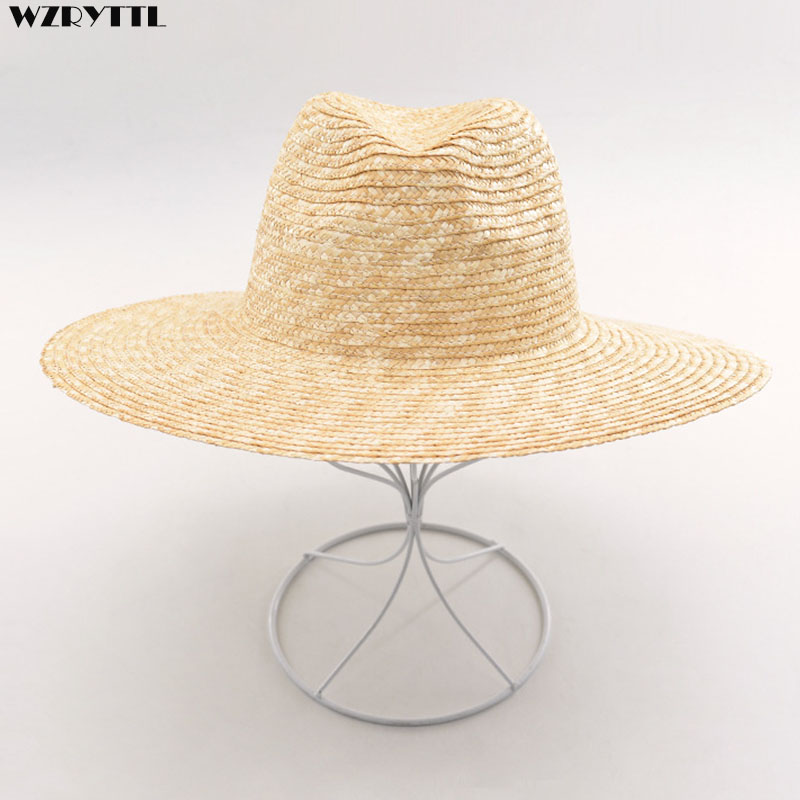 Mens Womens Summer Jazz Hat 100% Crocheted Wheat Straw Hat Body DIY Craft Millinery Base  Fedora Panama Beach UV Sun Hats
