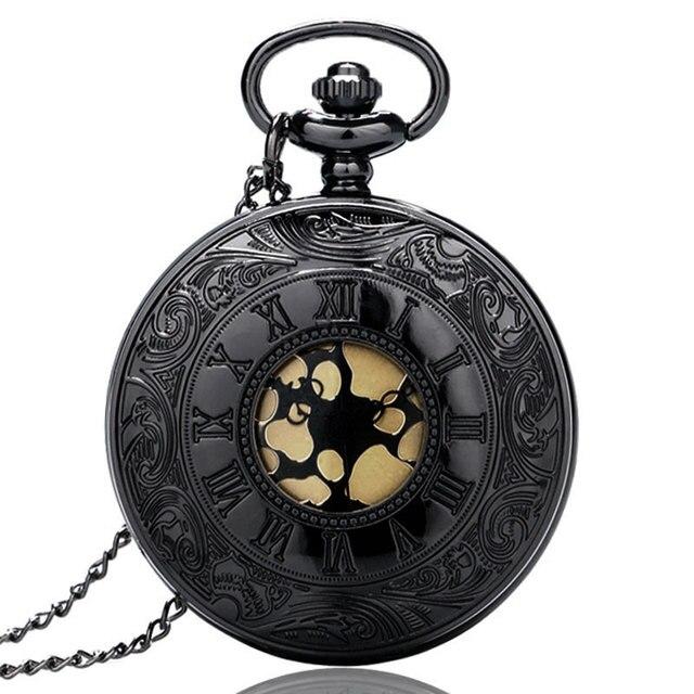Design Black Gray Roman Dial quartz Vintage Antique Pocket Watch necklace watche