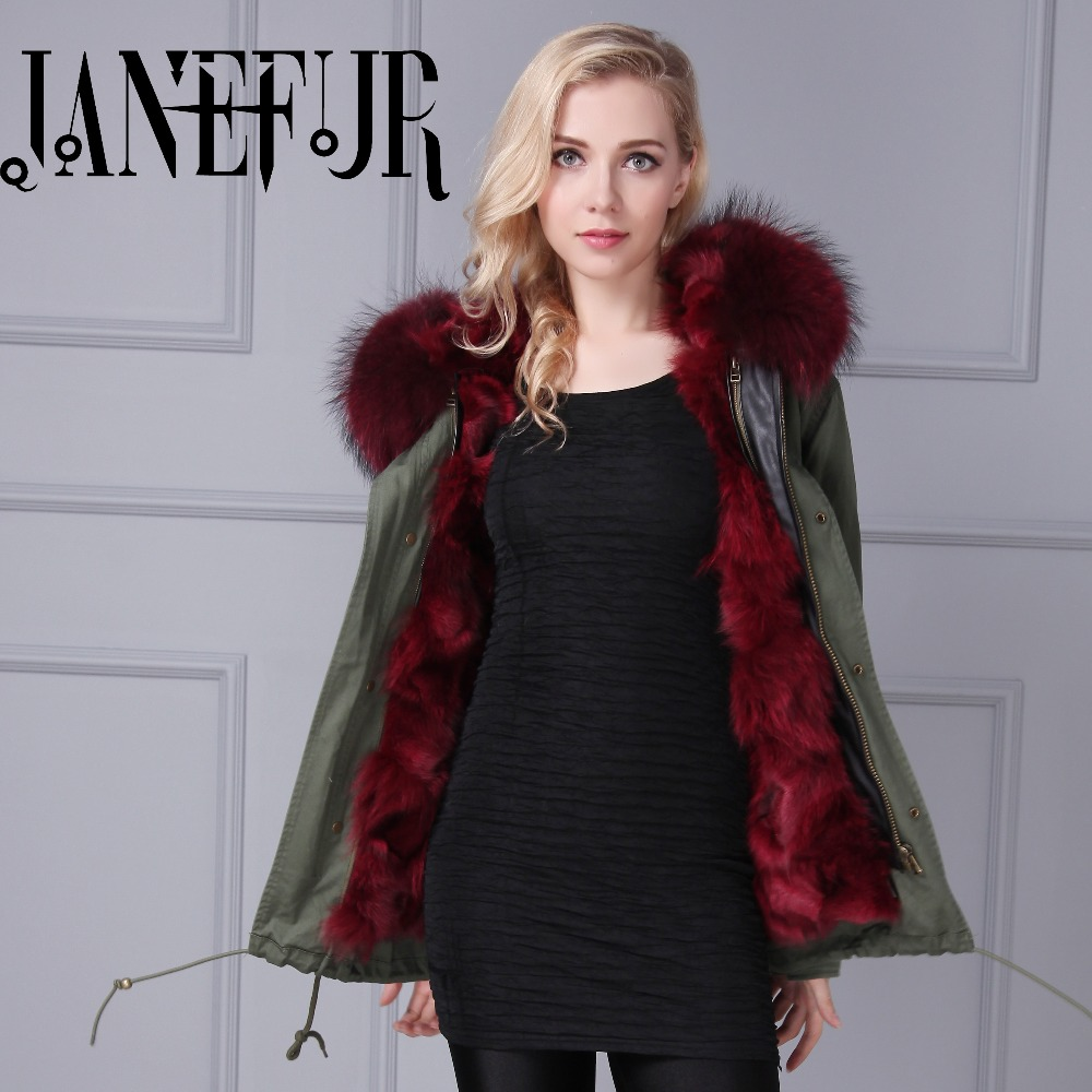 2016 14colors Army Green Cold winter coat women long real fur coat big raccoon Fur collar hooded thick warm Parkas 2017 winter new clothes to overcome the coat of women in the long reed rabbit hair fur fur coat fox raccoon fur collar