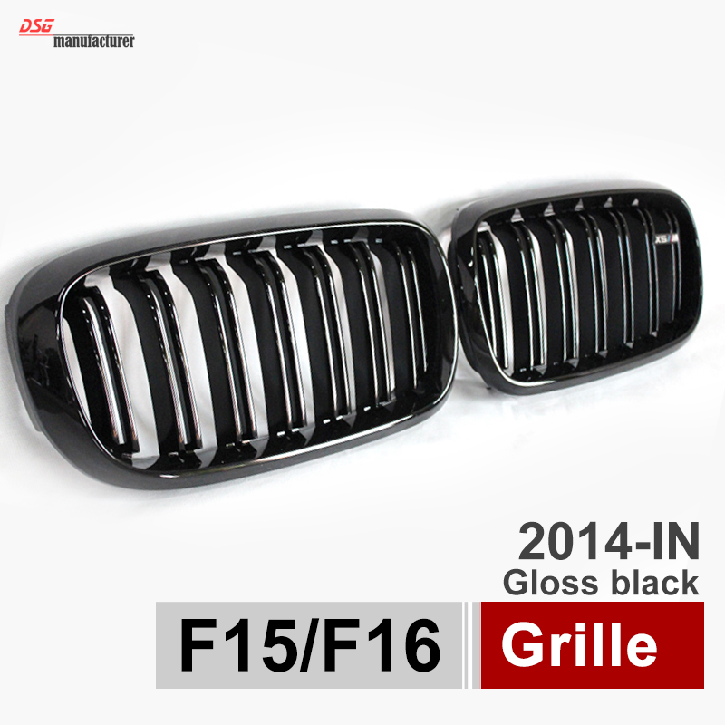 X5 X6 Grill Car Styling Dual Slat Kidney Grille w/ ///M Emblem Plug & Play Fit for BMW 2015 2016 F15 F16 SUV Glossy Black