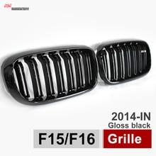 X5 X6 Ноздри Гриль Автомобилей Стайлинг Двойного Планка w////M Эмблема Plug & Play, Пригодный для BMW 2015 2016 F15 F16 ВНЕДОРОЖНИК Глянцевая черный
