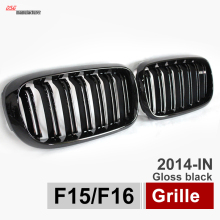 X5 X6 Grill Car Styling Dual Slat Kidney Grille w/ ///M Emblem Plug & Play Fit for BMW 2015 2016 F15 F16 SUV Glossy Black
