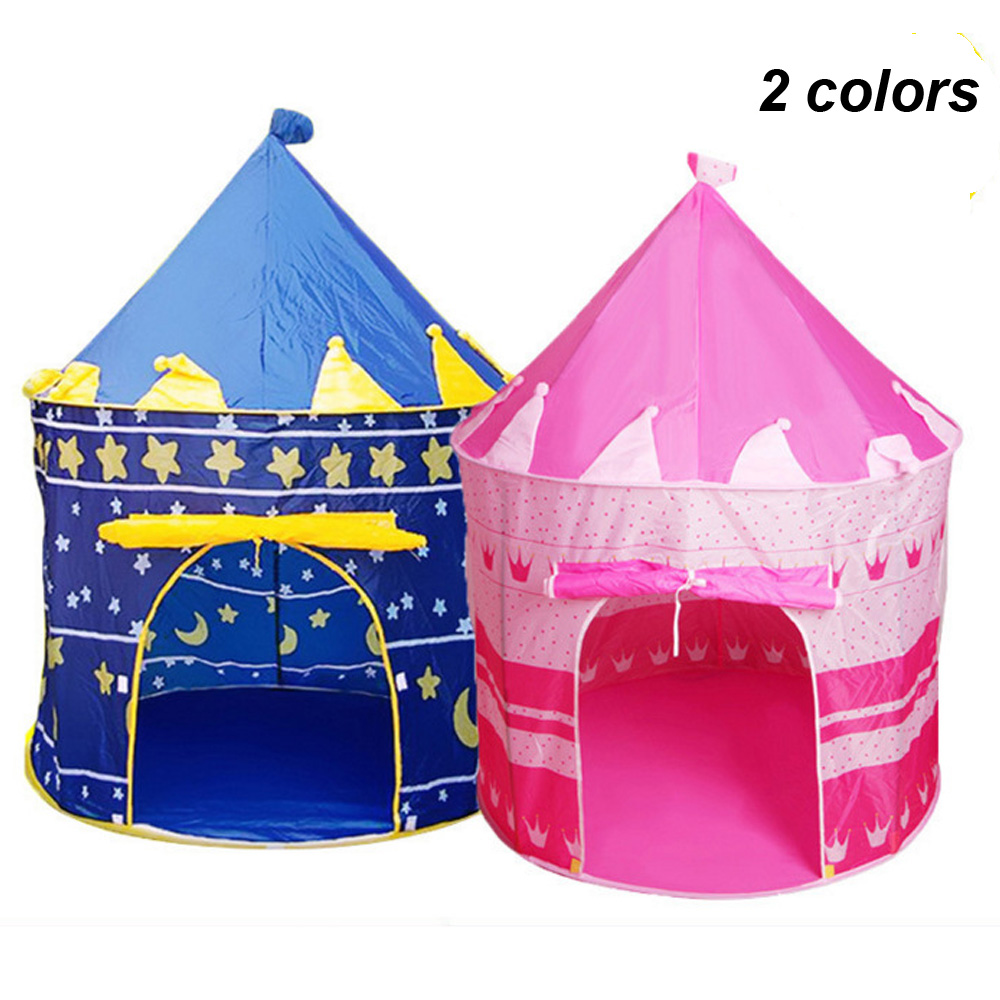 Blue/Pink Play Tent Portable Foldable Tipi Prince Folding Tent Children Boy Castle Cubby Play House Kids Gifts Outdoor Toy Tent цена в Москве и Питере