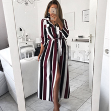 2019 Office Ladies Striped Sashes Long Dress Women Turn-Down Collar Beach Shirt Dress Casual New Fashion Women Elegant Dress fashionable striped shirt collar high low dress for women
