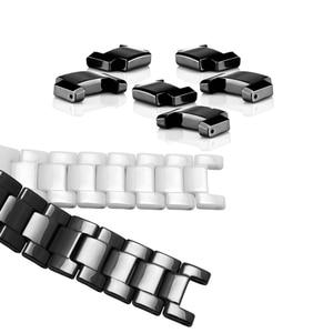 Image 2 - Ремешок для часов из жемчуга и керамики, вогнутый браслет диаметром 16*9 мм, разрешением 20*11 мм, цвет черный/белый
