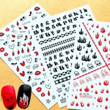 Newest TSC-135 Furious design 3d nail manicure back glue decal decoration stickers wraps