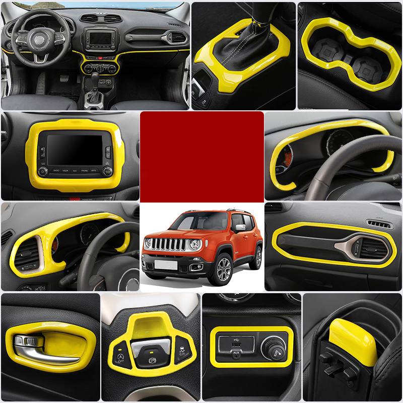 Lsrtw2017 Abs Car Central Control Trunk Drag Hook Frame Trunk Light Trims Door Bowl Window Control Panel For Jeep Renegade